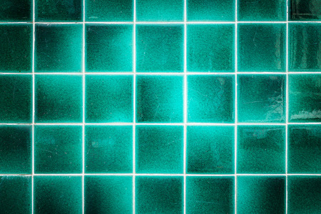 wall tile: Close up old pattern green ceramic bathroom wall tile texture and background