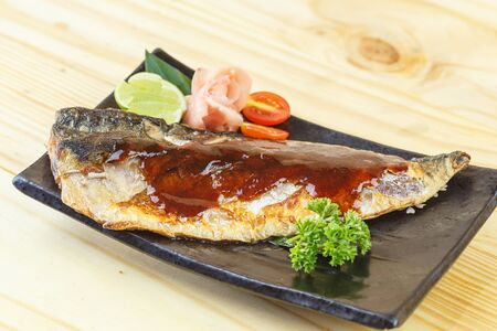 saba: Traditional japanese food, Saba teriyaki on wooden table