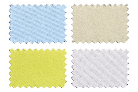 zig: Set of sample pieces color fabric isolated on white background