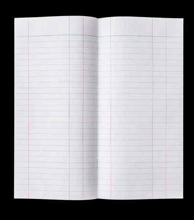 looseleaf: Close up Lined paper isolated on black background