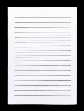 looseleaf: Close up white lined paper isolated on black background Stock Photo