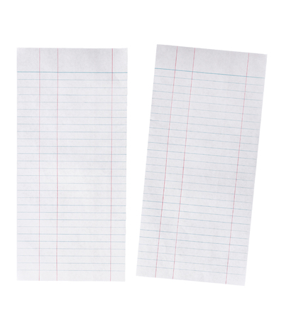 looseleaf: Close up Lined paper isolated on white background