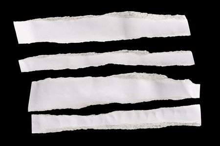 looseleaf: Piece of white paper isolated on black background Stock Photo