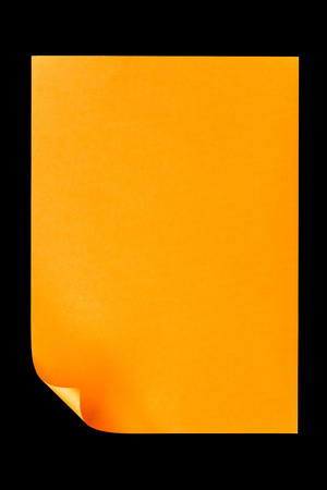 looseleaf: Orange empty A4 paper isolated on black background