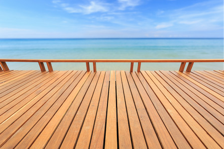 Close up wooden wooden or flooring and tropical beach