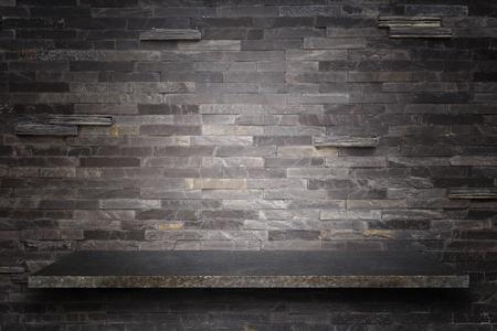 Lege top van natuursteen planken en stenen muur achtergrond. Voor product-display Stockfoto - 45860419