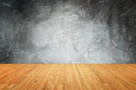 Haut Empty du plancher en bois et en pierre naturelle mur fond Banque d'images