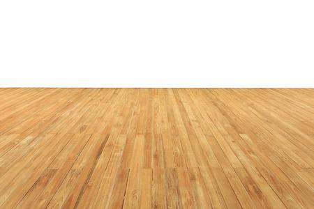 나무 갑판과 흰색 배경에 고립 된 바닥을 닫습니다.