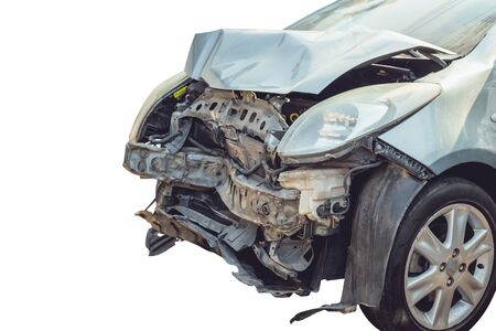 total loss: Close up front of accident car by crashed isolated on white background Stock Photo