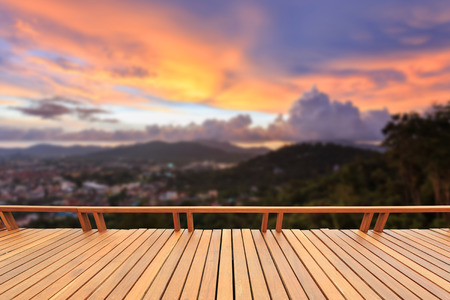 close up view: Close up wooden decking or flooring and view of mountain