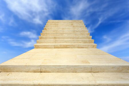travertine house: Close up natural stone Travertine staircase on blue sky background