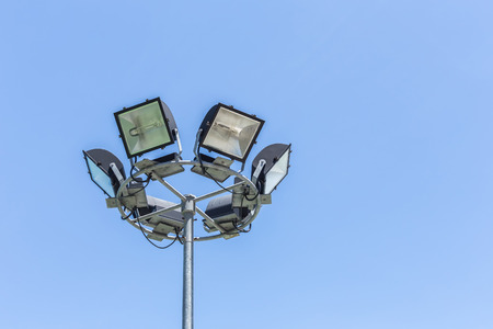 limelight: Spotlight, Stadium lights on blue sky background