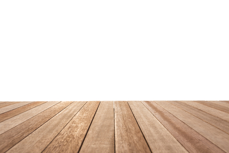 Leere oben auf Holztisch oder Zähler isoliert auf weißem Hintergrund. Für die Warenpräsentation