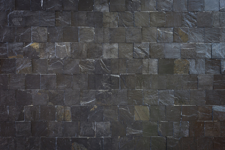 seamless tile: Pattern of black slate wall texture and background Stock Photo