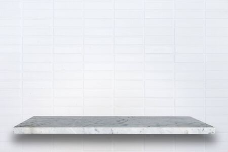 black empty board: Empty top of natural stone shelves and stone wall background. For product display