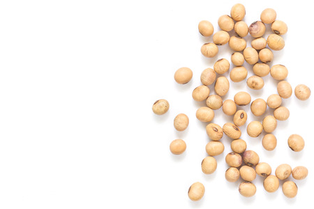 Close up soy beans isolated on white background