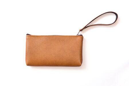 brown leather: Close up color womens leather  purse isolated on white background