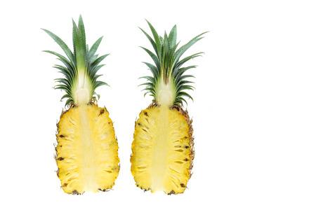 Close-up verse ananas op een witte achtergrond Stockfoto - 49564474