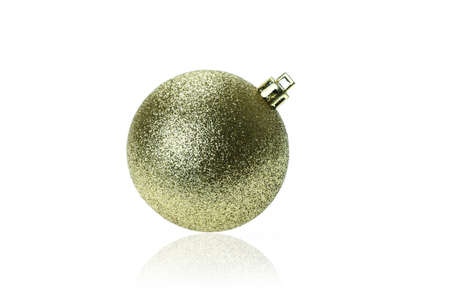 ball isolated: Gold Christmas ball isolated on white background