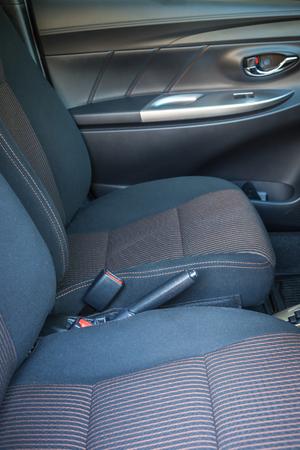 seatbelt: Detail of new modern car interior, Focus on seatbelt Stock Photo