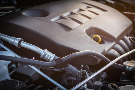 new motor vehicles: Close up detail of new car engine Stock Photo
