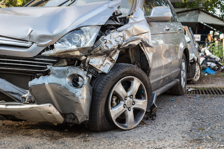 accident body: Close up body of car get damaged by accident Stock Photo