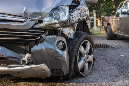 car wreck: Close up body of car get damaged by accident Stock Photo