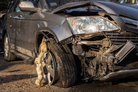 fender bender: Close up body of car get damaged by accident Stock Photo