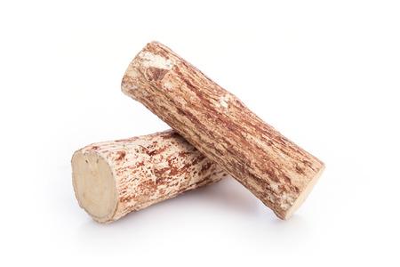 Close up Thanaka wood isolated on white background