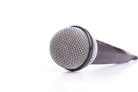 microfono antiguo: Close up old microphone isolated on white background Foto de archivo