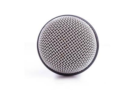 microfono antiguo: Cierre de micr�fono viejo aislado en el fondo blanco
