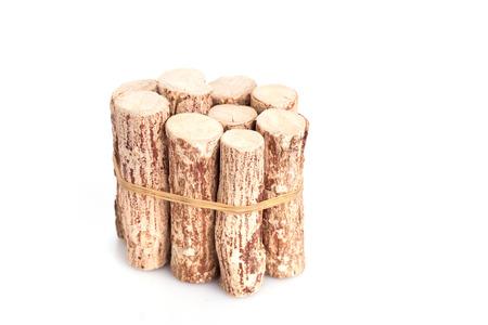 face in tree bark: Close up Thanaka wood isolated on white background