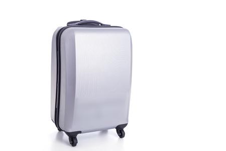 luggage bag: Close up big grey luggage isolated on white background Stock Photo