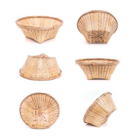 Set of Empty bamboo basket handmade isolated on white background