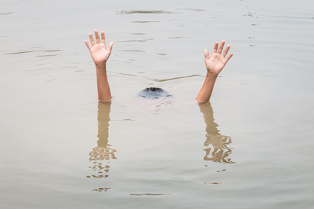 children pond: Thai children in big water pond : Concept drowning