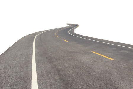 meandering: Black asphalt road with white and yellow line isolated on white background