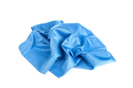 microfiber: New blue microfiber cloth isolated on white background
