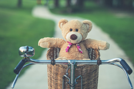 flare up: Close up lovely brown teddy bear in rattan basket on vintage bike in green field with lens flare. Warm toning effect. Retro and vintage style