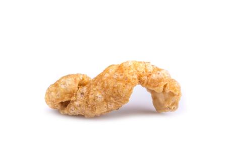 crackling: Close up pork snack or pork crackling isolated on white background Stock Photo