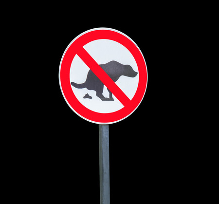 pooping: Round no dog pooping sign isolated on white background Stock Photo