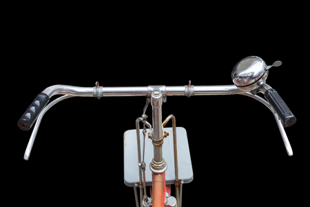 Fornt part of vintage bycicle. View from bikers eyes isolated on white background