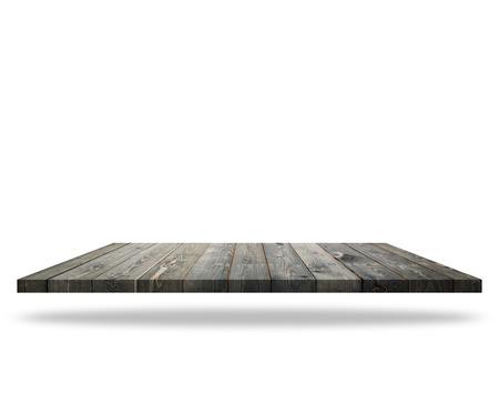 Leere Top of Holztisch oder Zähler isoliert auf weißem Hintergrund. Zur Produktanzeige
