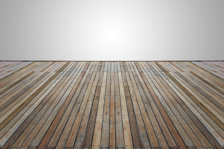 decking: Old wooden decking or flooring isolated on blank grey space for design
