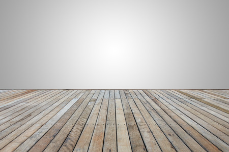 blank space: Old wooden decking or flooring isolated on blank grey space for design