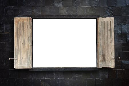 windows frame: Old wooden windows frame on stone wall with empty space in the middle