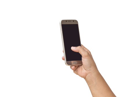 input device: Close up hand of woman holding smartphone isolated on white background