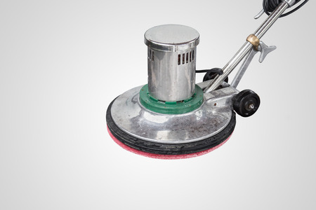 Exterior black stone floor cleaning with polishing machine and chemical. Isolated on white background. Stock Photo
