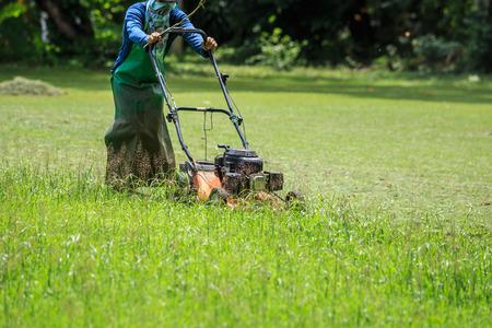 정원에서 잔디를 깎고있는 남자