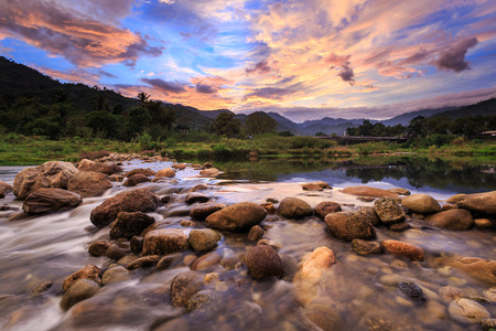 Landscape of small river and beautiful sunset in Kiriwong village. The best Ozone location in Thailand