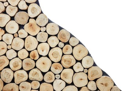 Pattern round wood log texture can use for background. Interior decoration Stock Photo